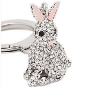 Kate Spade Pave Silver Bunny Rabbit Keychain